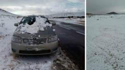 Des flocons de neige dans la région de