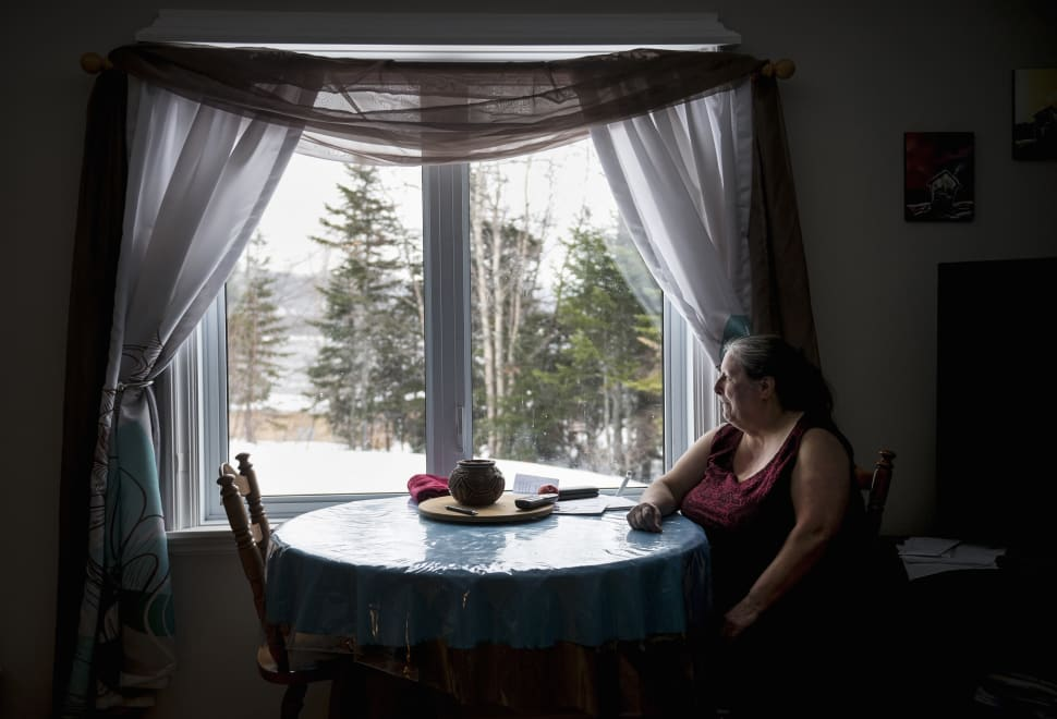 An emotional Charlotte Wolfrey sits in her home on March 23, 2018 after recounting the day her daughter...