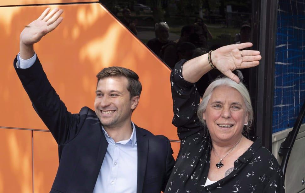 Gabriel Nadeau-Dubois et Manon Massé lors du lancement de leur campagne le 23 août