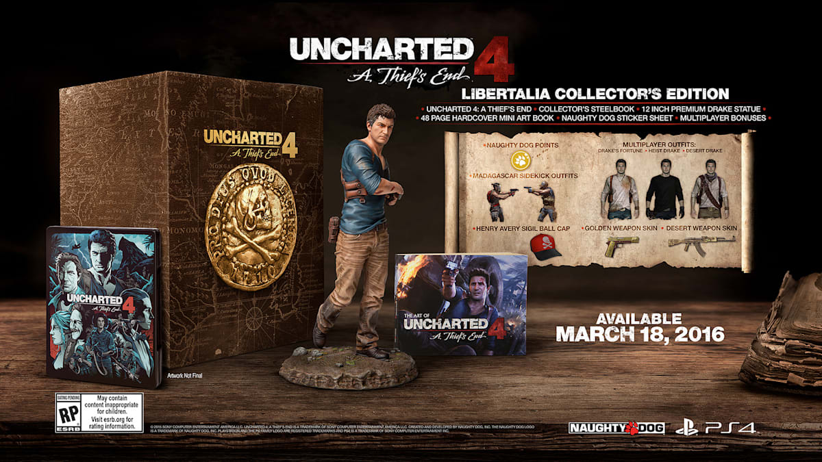 Uncharted 4: A Thief's End, the final game in Naughty Dog's Indiana Jones-style adventure series, will hit PlayStation 4 on March 18th, 2016.