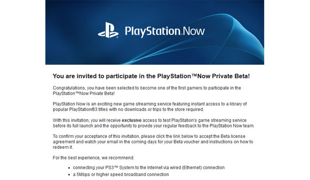 Playstation Now streaming service sends out invites for beta