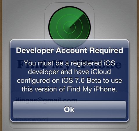 Dev-only Find My iPhone update pushed to consumers, breaks login