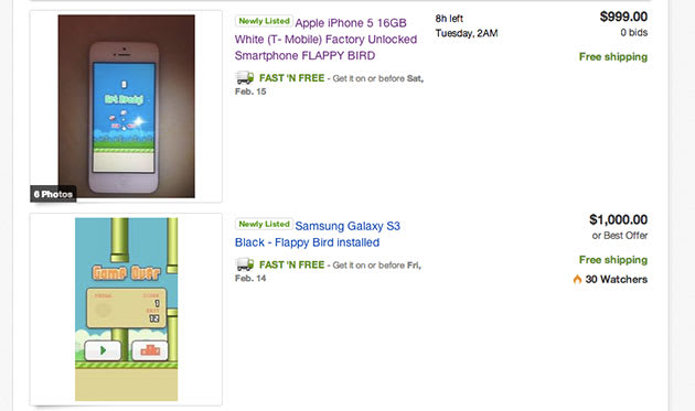 Never fear, Flappy Bird is still available -- on eBay, for a