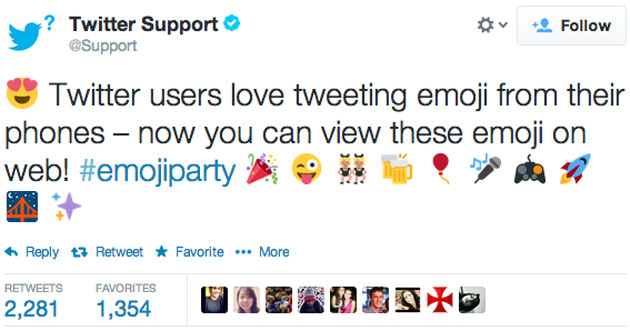 Twitter now shows emoji characters on the web