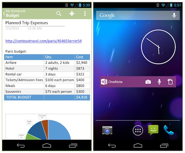 Microsoft's OneNote Android app updated with native sharing