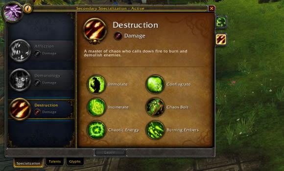 Destruction warlock spells