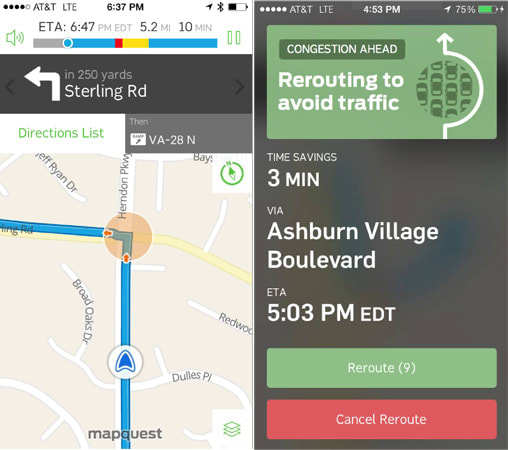 MapQuest updates iOS 7 and Android apps with modern UI, route status bar