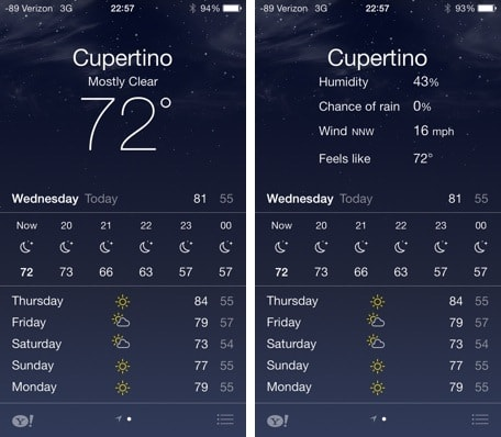 iOS 7: Weather app is easy on the eyes, still lacking features