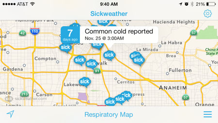 Sickweather app will either help you avoid a cold or make ... on map millbrook al, map of kensington san diego, map ark, map of merrimack valley massachusetts, map of london 1880, map travel, map google, map from point to point, map of appalachia, map of the european alps, map of negros philippines, map guide, map directions point to point, map london south kensington, map of boulder colorado and surrounding area, map language, map features, map data, map of all the states, map math,