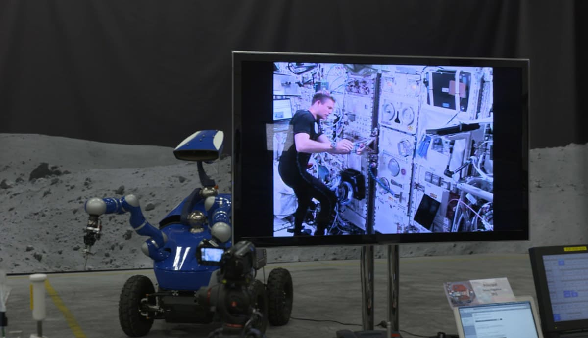 Astronaut drives a rover on Earth from aboard the ISS