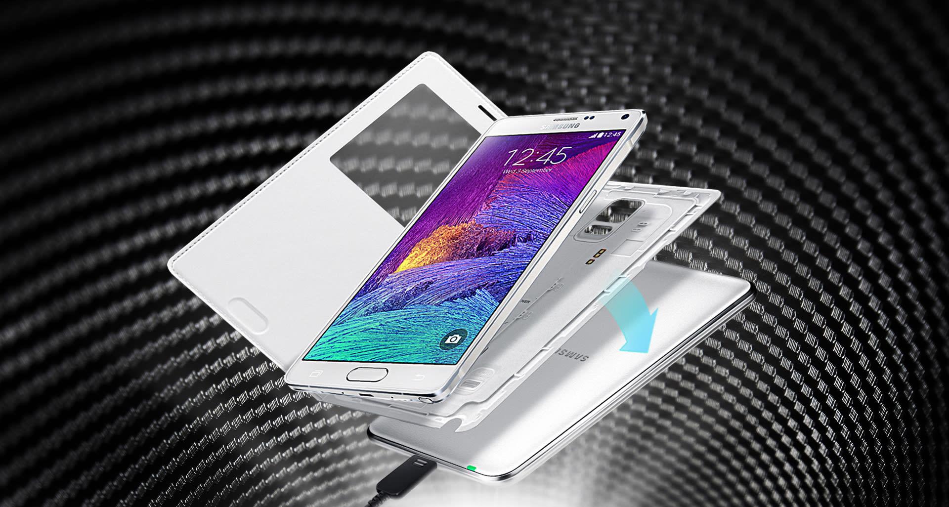 7361e3fe323 Al igual que ocurrió con otros modelos anteriores de la marca, el flamante  Note 4 de Samsung ha recibido también un accesorio con el que podrá cargar  su ...