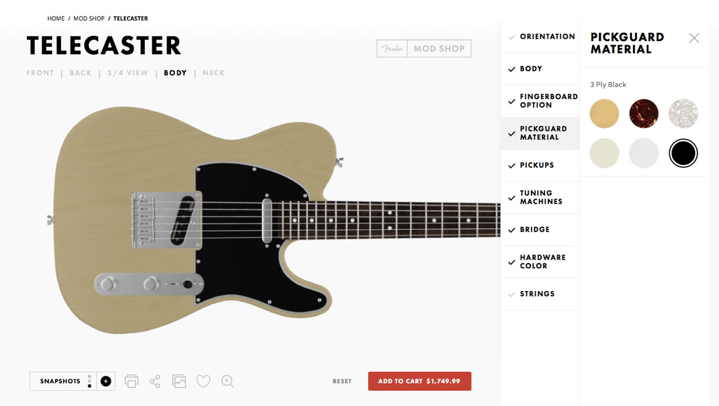Fender's Mod Shop lets you customize a new guitar on the web
