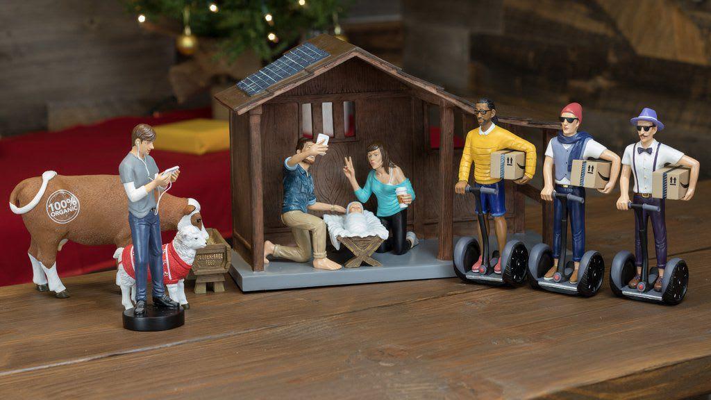 Moderne Weihnachtskrippe.Ziemlich Witzig Hipster Weihnachtskrippe