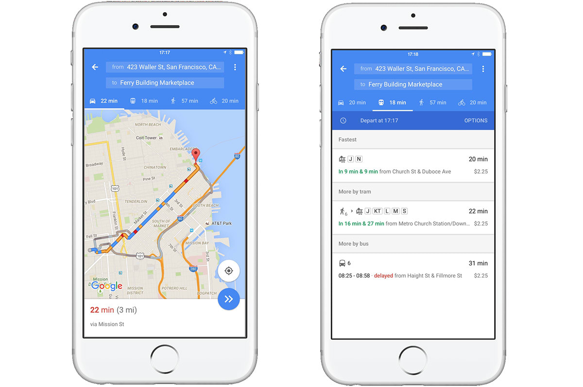Google Maps for iOS shows you the fastest way to travel in ... on google messenger ios, google drive ios, google app ios, bloons td 5 ios, bing ios, nokia maps ios, real racing 3 ios, apple maps ios,