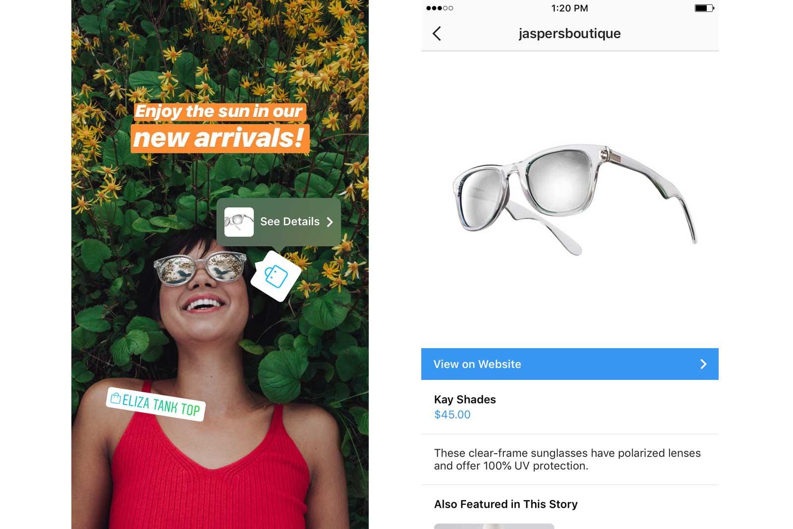 Resultado de imagen para products instagram stories