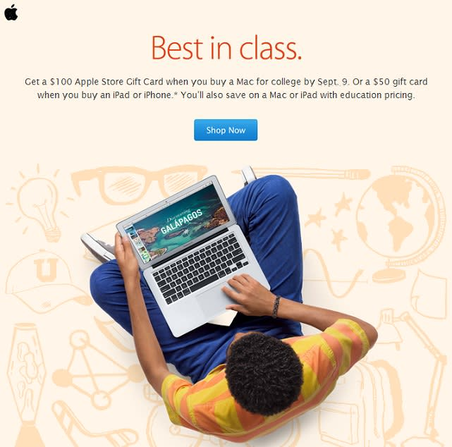 Heading to college? Buy a Mac and receive a $100 Apple Store Gift Card
