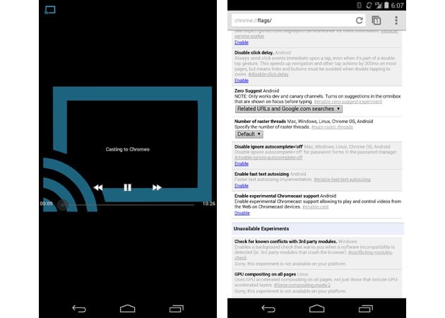 Chrome beta for Android makes it easy to send web video to