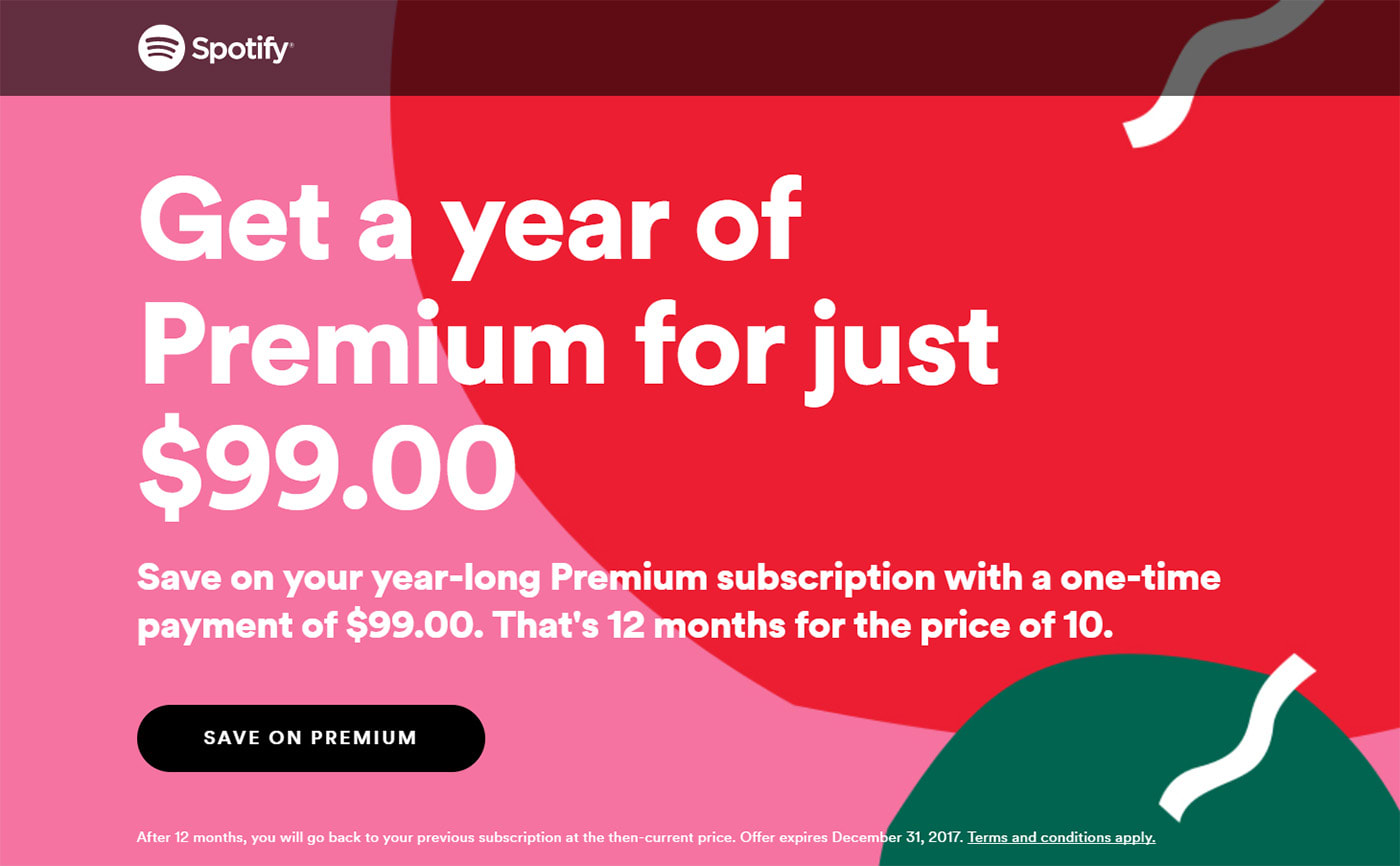 52ee6a375c01 Spotify offers a year of Premium streaming for  99