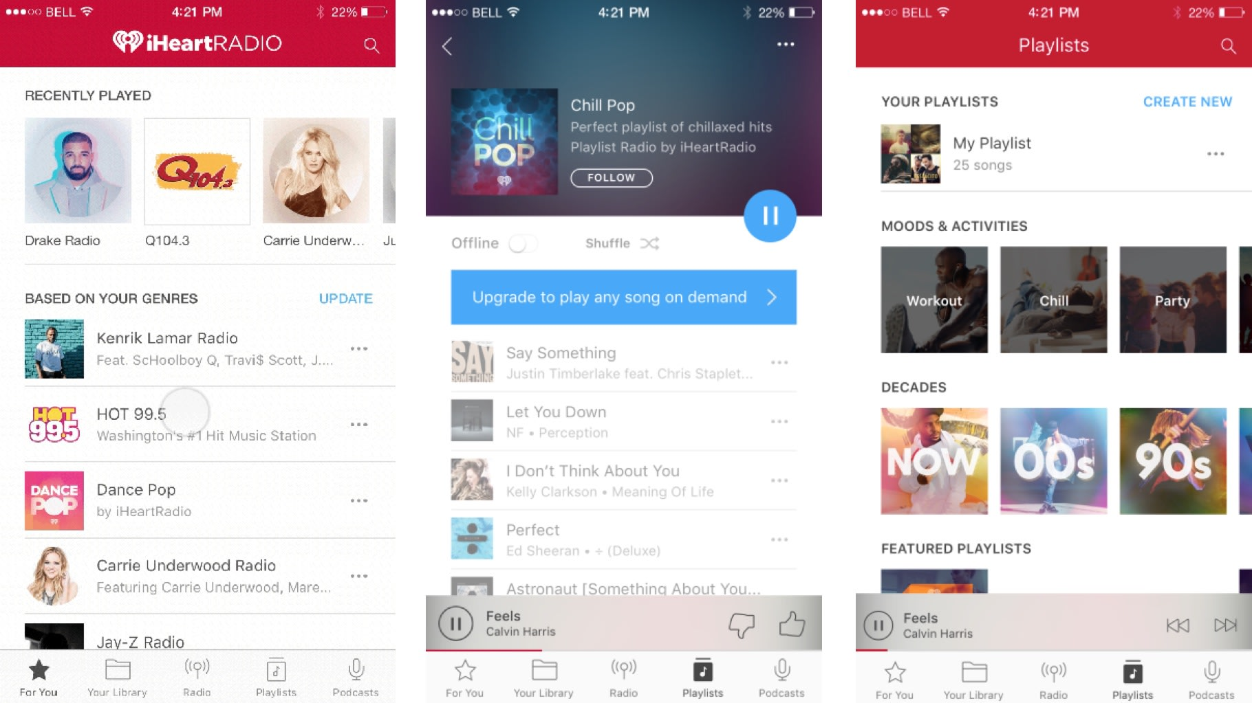 iHeartRadio offers curated playlists to free users