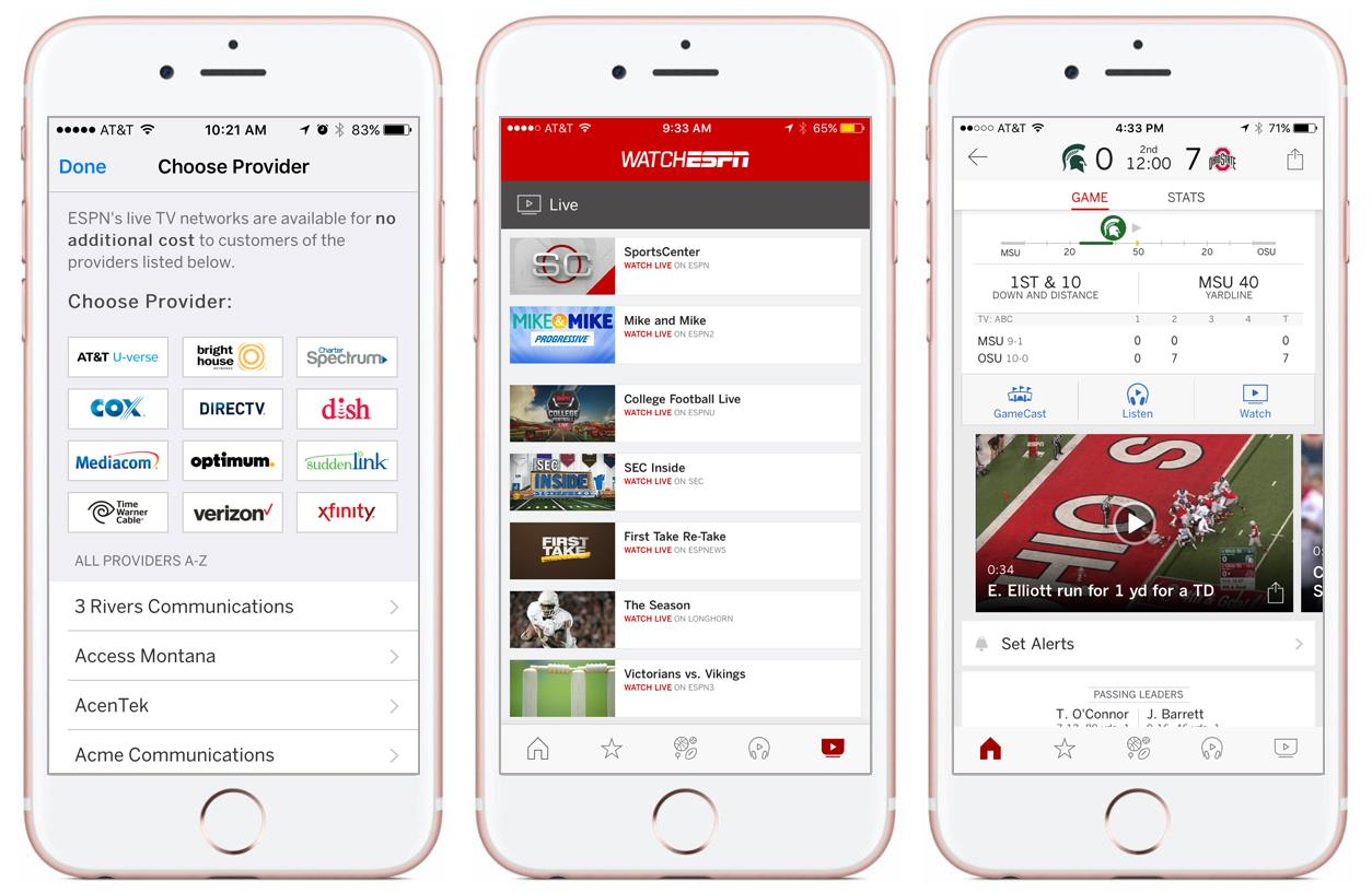 The ESPN app now streams live sports from WatchESPN