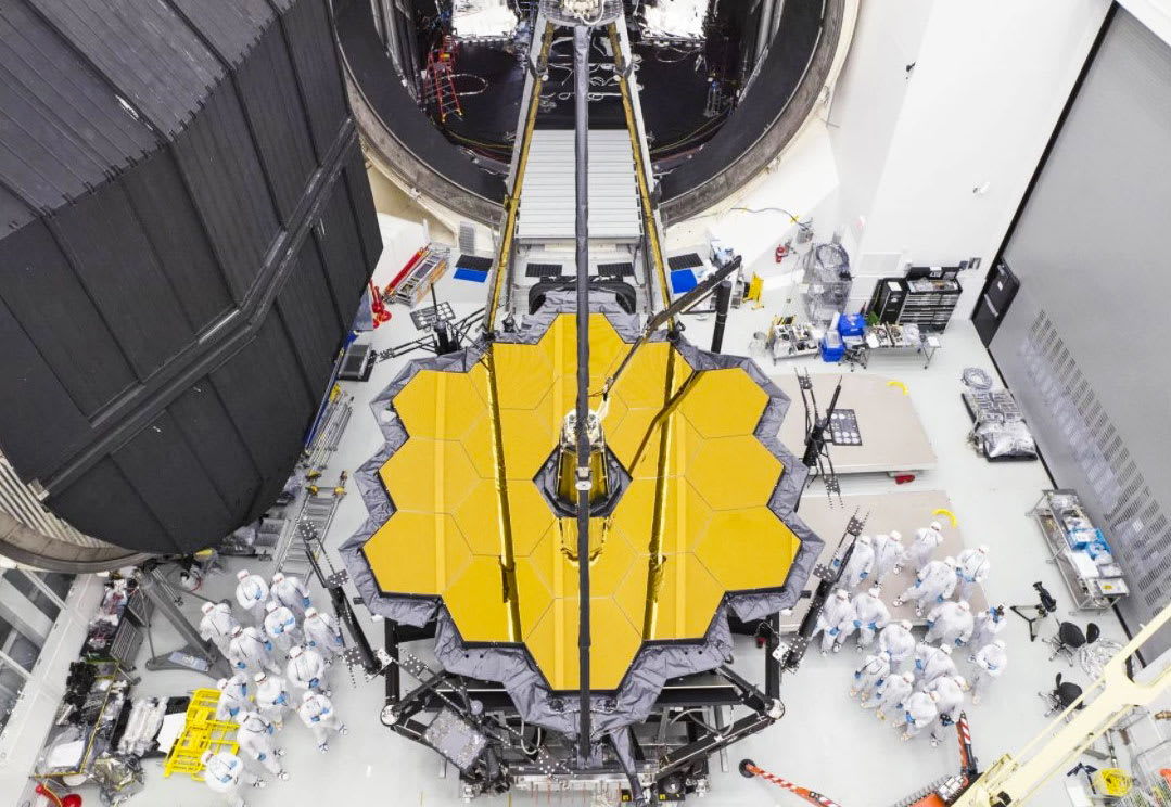 An aerial view of James webb telescope.