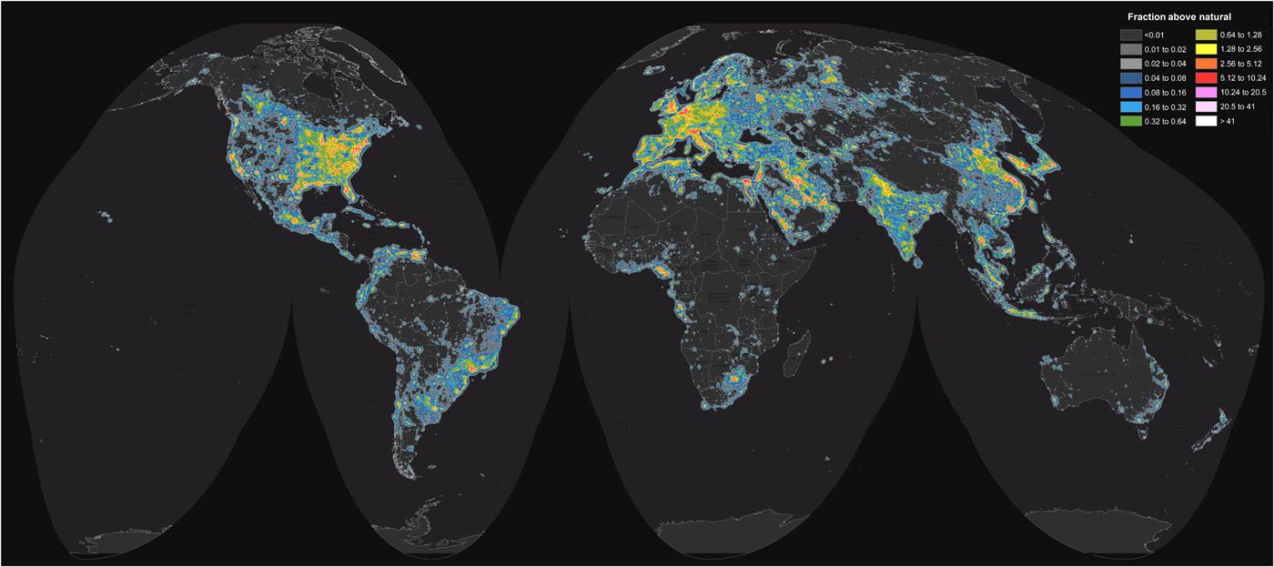 Lichtverschmutzung Karte 2019.Hier Kommt Die Erste Weltkarte Der Lichtverschmutzung