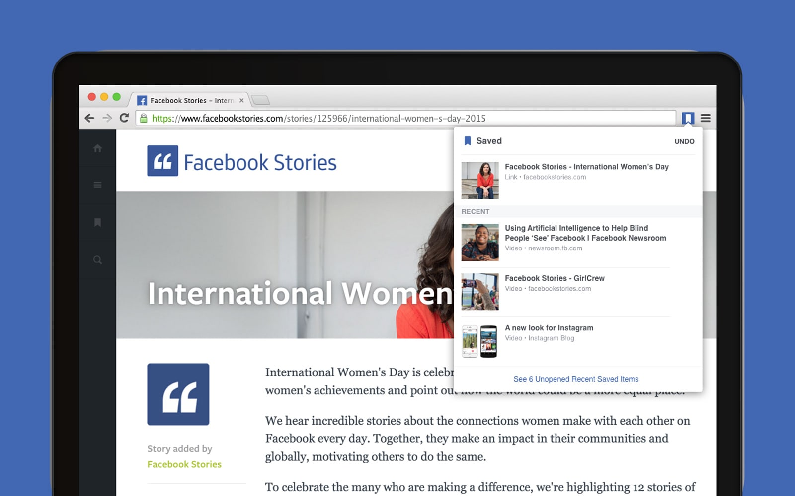Facebook add-ons save and share stories in Chrome