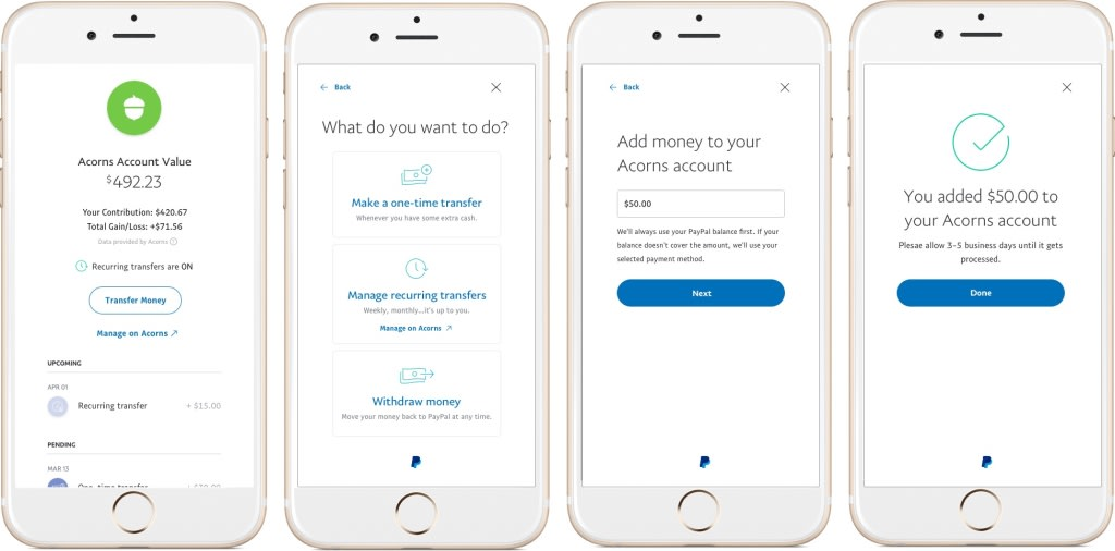PayPal can help you save and invest money with the Acorns app
