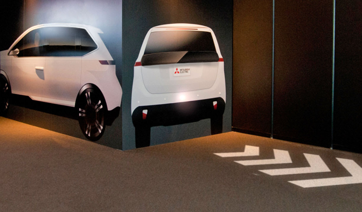 Mitsubishis Turn Signals Of The Future Are Projected On Road Mitsubishi
