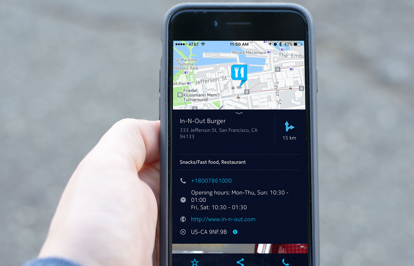 Here Maps for iOS offers easy access to detailed place info
