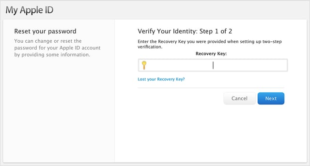 PSA: Don't lose your Apple ID recovery key if you are using two