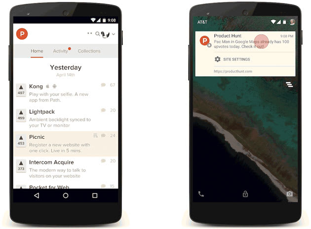 Chromes push notifications reach your Android phone