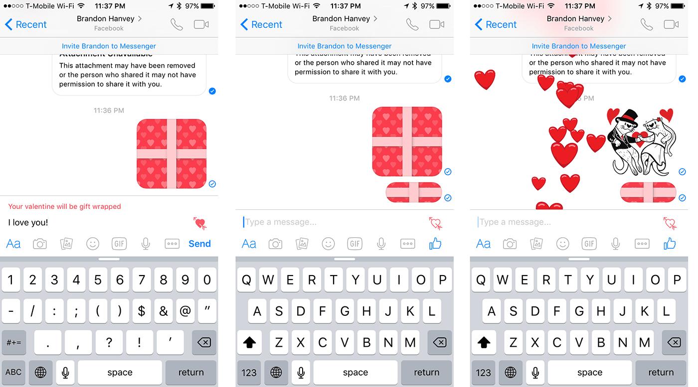 Facebook Messenger Lets You Send A Heart Wrapped Valentine
