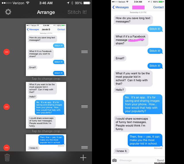 Stitch It!: Assemble long screen shots of iMessage conversations