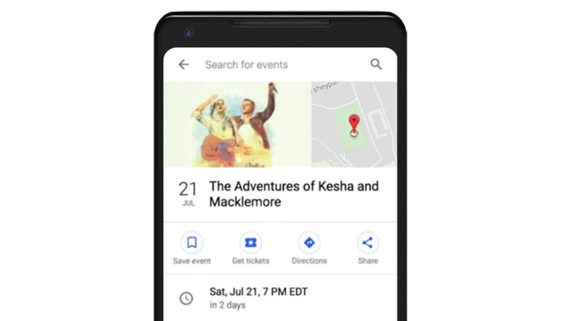 Google search now provides more details on local events