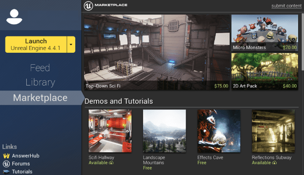 Unreal Engine Marketplace opens, UE4 free to educators