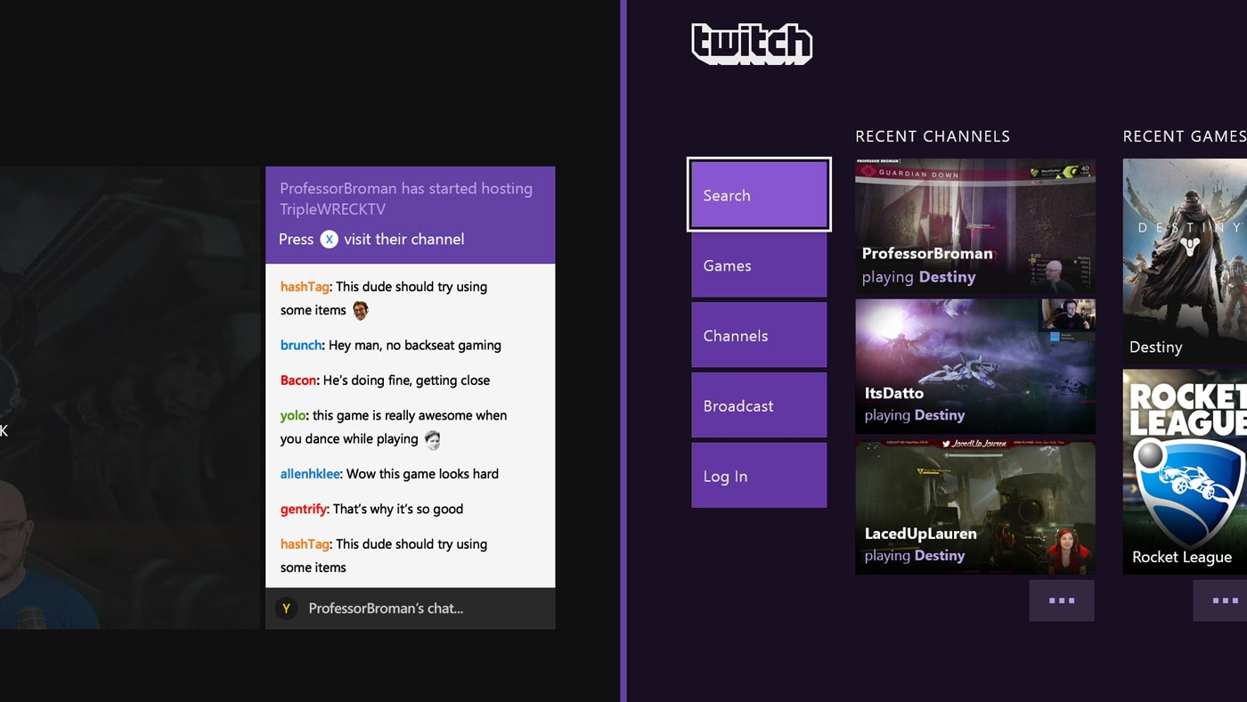 Twitch on Xbox One now shows hosted (and recent) game streams