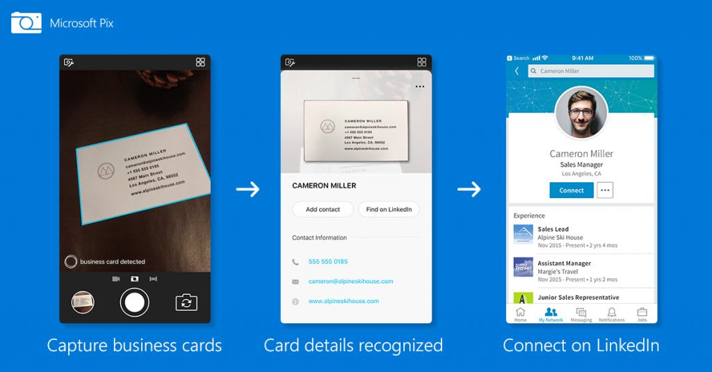 Microsoft Pix can add business card info to your contacts