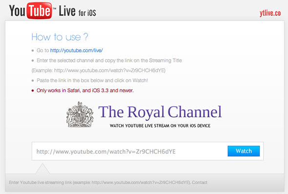 YTLive web app lets you watch YouTube Live broadcasts on