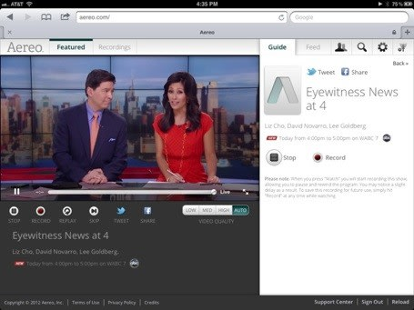 NYC gets live iPad IPTV of broadcast channels with Aereo