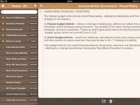 Daily iPad App: NotesTab seamlessly syncs your notes between iOS