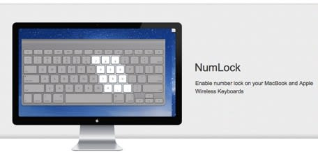 NumLock for OS X will enable number lock on Mac keyboards