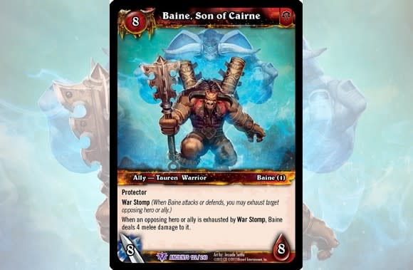 baine bloodhoof stomps his way into wow tcg s war of the ancients