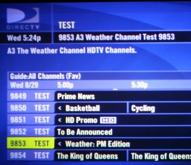 DirecTV's new MPEG4 channel show up in guide (in engineering