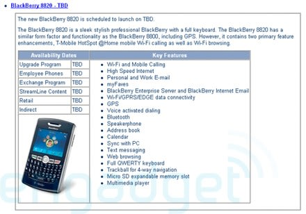 T-Mobile's BlackBerry 8820 pushed back?
