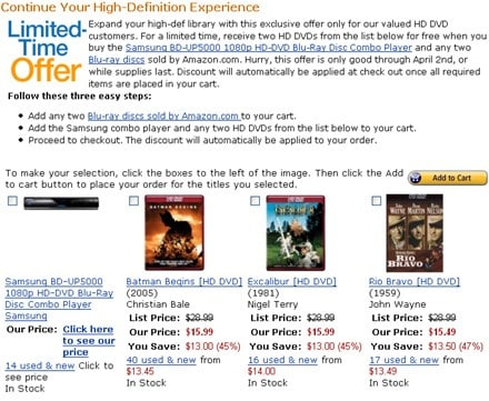Amazon offers two free HD DVDs when you buy    a BD-UP5000?