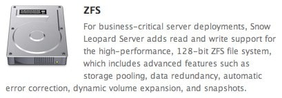 ZFS file system coming to Snow Leopard server edition