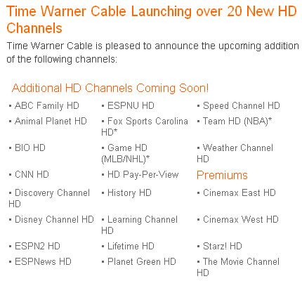 TWC gets official with HD expansion in the Carolinas