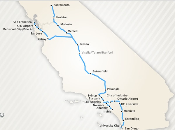 Map Of California High Speed Rail.California High Speed Train System To Link Norcal And Socal At 220mph