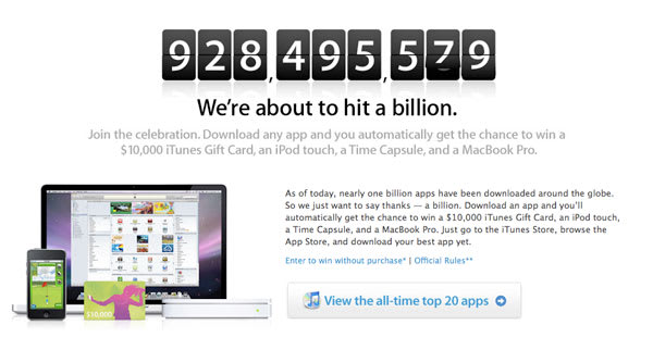Apple anxiously awaits the selling of their billionth App
